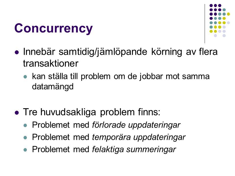 Concurrency Innebär samtidig/jämlöpande körning av flera transaktioner