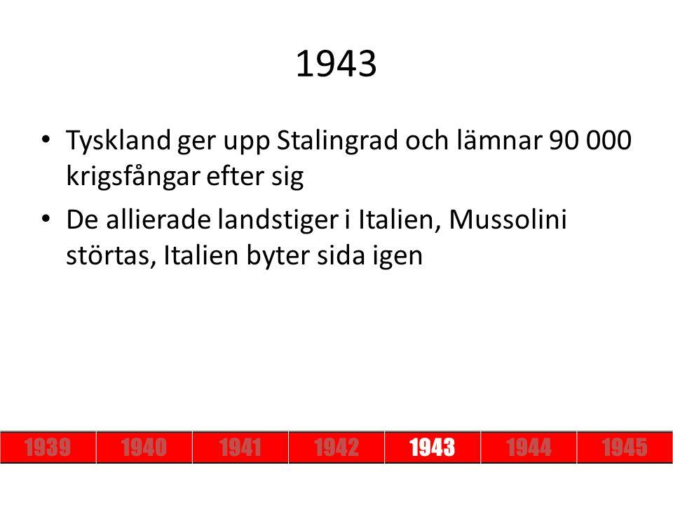 1943 Tyskland ger upp Stalingrad och lämnar 90 000 krigsfångar efter sig.