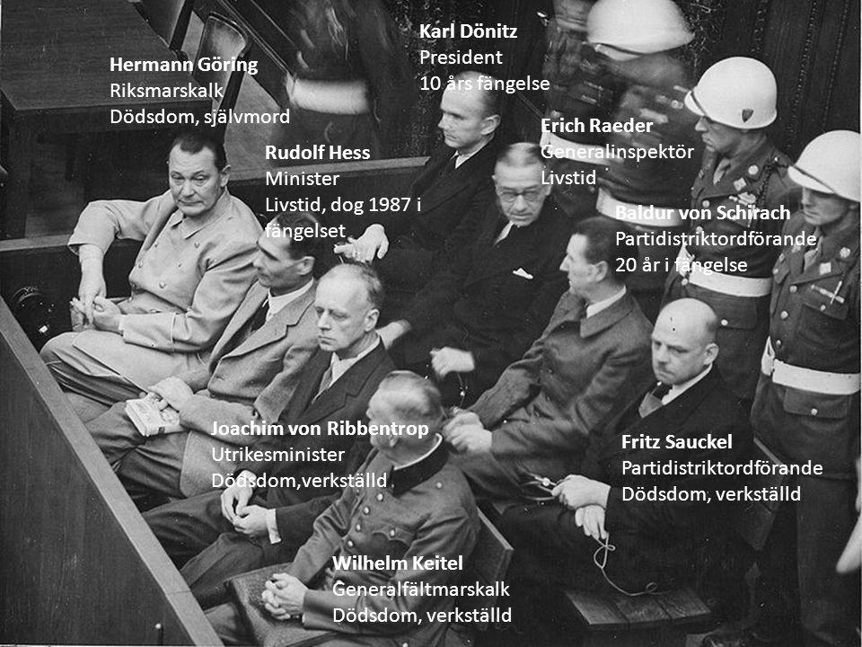 Karl Dönitz President. 10 års fängelse. Hermann Göring. Riksmarskalk. Dödsdom, självmord. Erich Raeder.