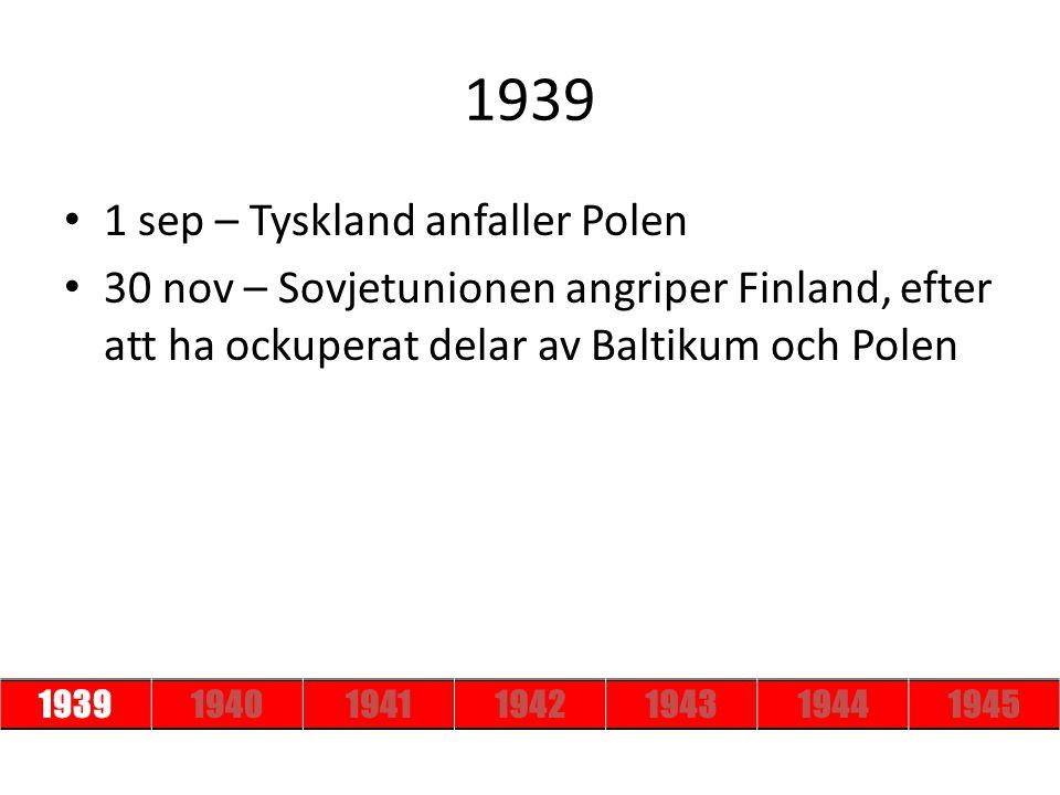 1939 1 sep – Tyskland anfaller Polen
