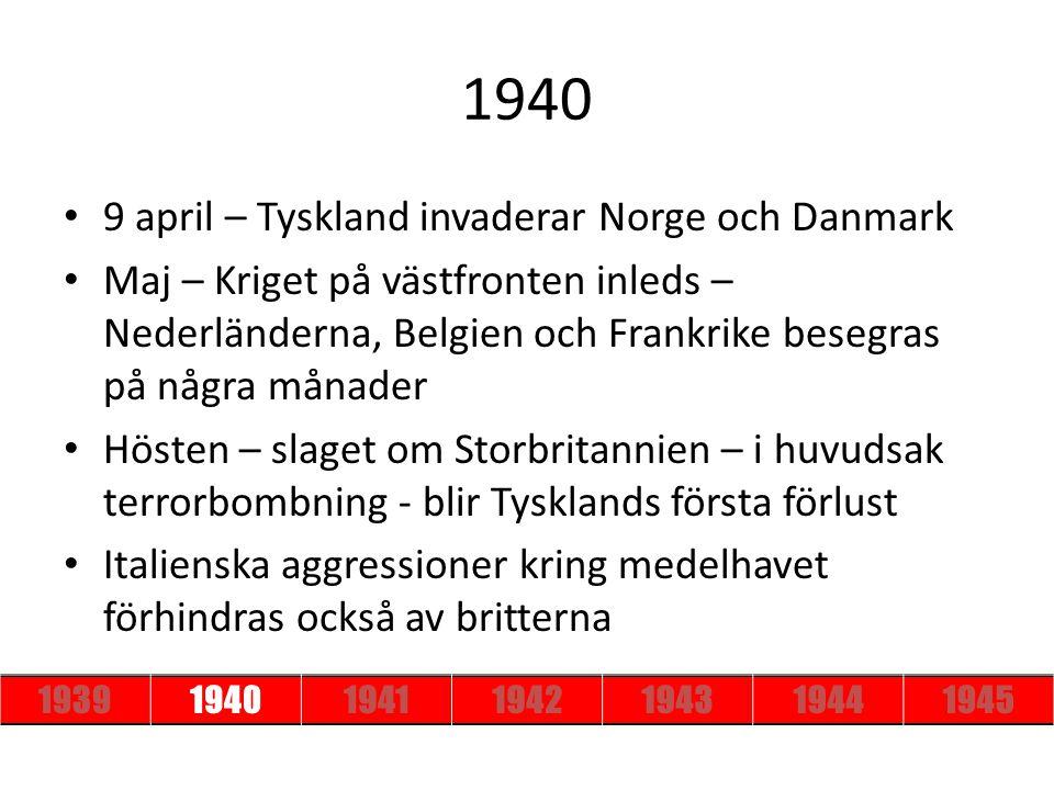1940 9 april – Tyskland invaderar Norge och Danmark