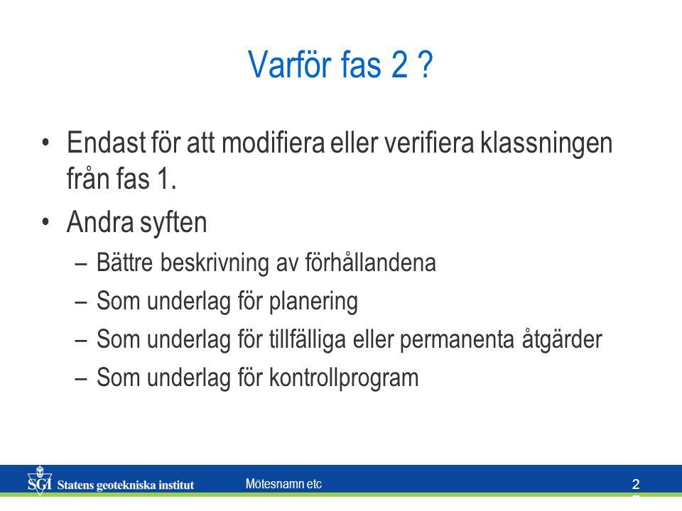 Varför fas 2 Endast för att modifiera eller verifiera klassningen från fas 1. Andra syften. Bättre beskrivning av förhållandena.
