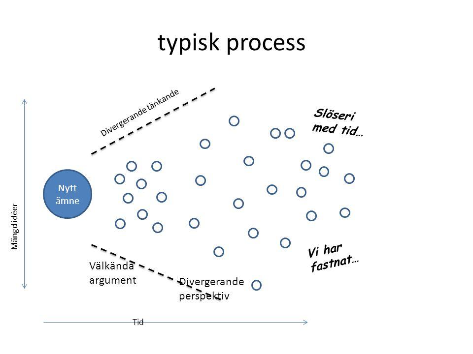 typisk process Slöseri med tid… Vi har fastnat… Välkända argument