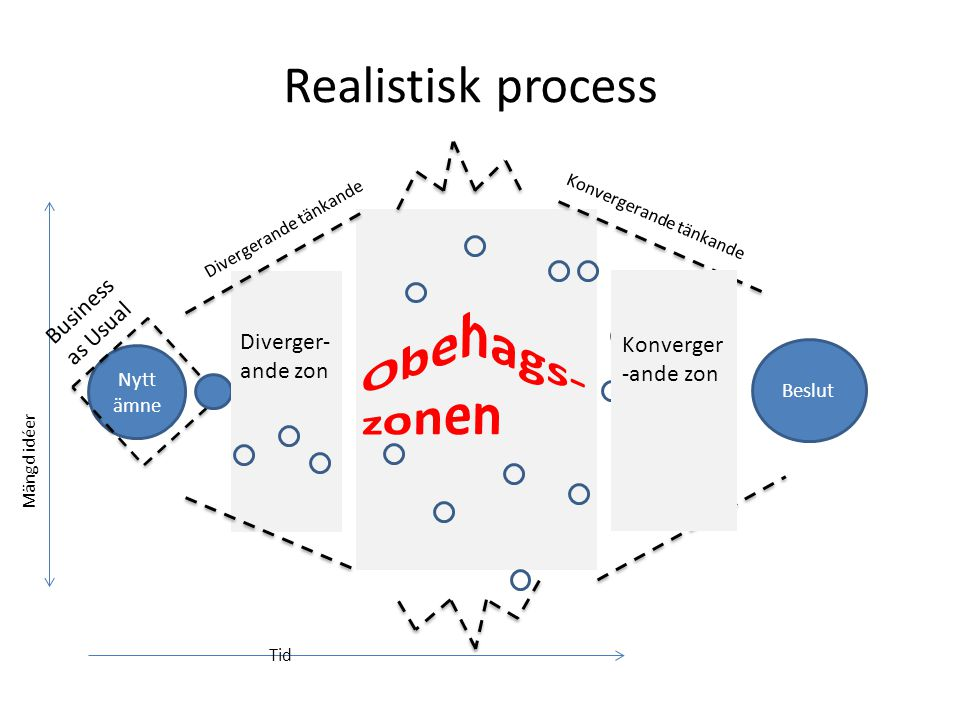 Realistisk process Obehags-zonen Business as Usual Diverger-ande zon
