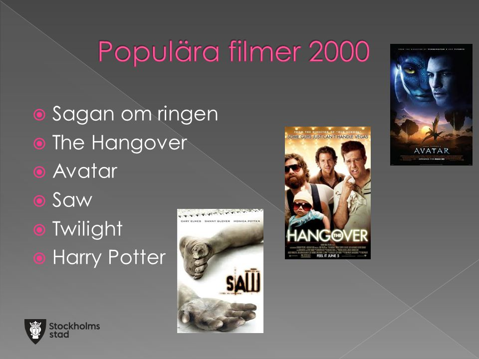 Populära filmer 2000 Sagan om ringen The Hangover Avatar Saw Twilight