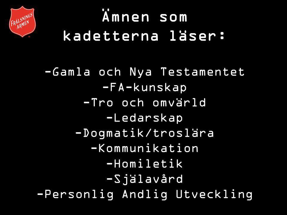 Ämnen som kadetterna läser: -Gamla och Nya Testamentet -FA-kunskap -Tro och omvärld -Ledarskap -Dogmatik/troslära -Kommunikation -Homiletik -Själavård -Personlig Andlig Utveckling
