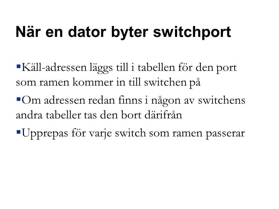 När en dator byter switchport