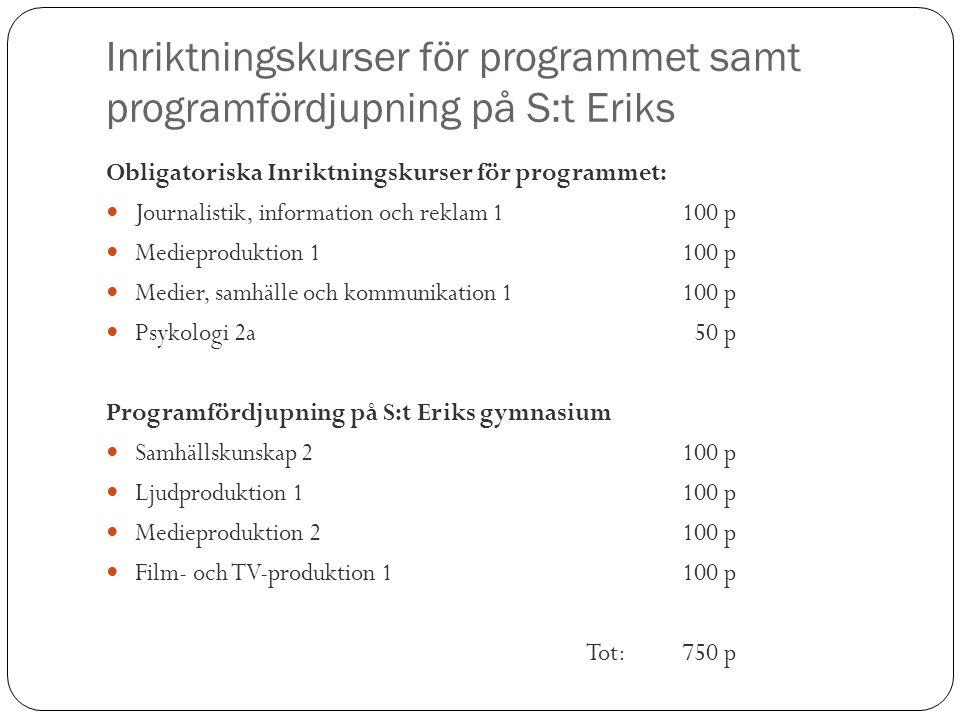Inriktningskurser för programmet samt programfördjupning på S:t Eriks