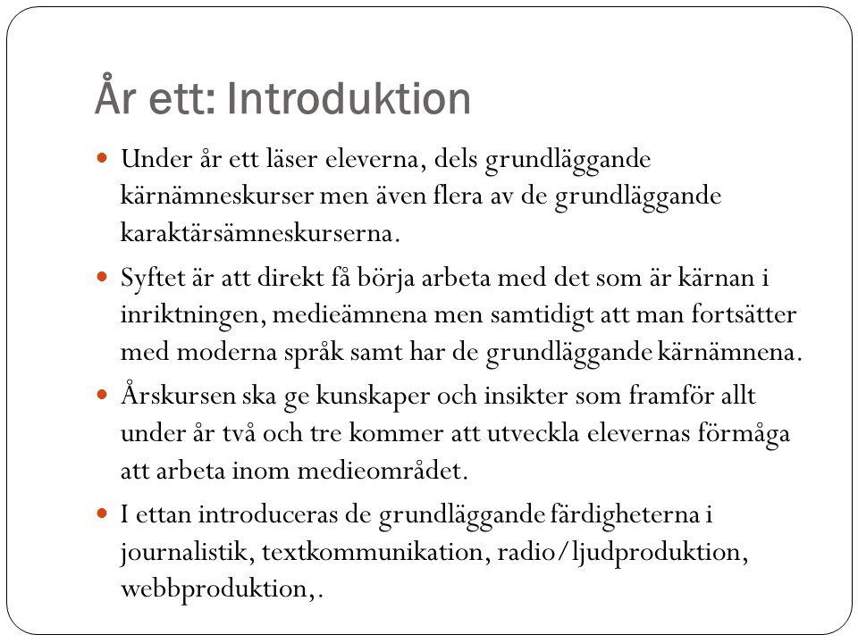 År ett: Introduktion Under år ett läser eleverna, dels grundläggande kärnämneskurser men även flera av de grundläggande karaktärsämneskurserna.