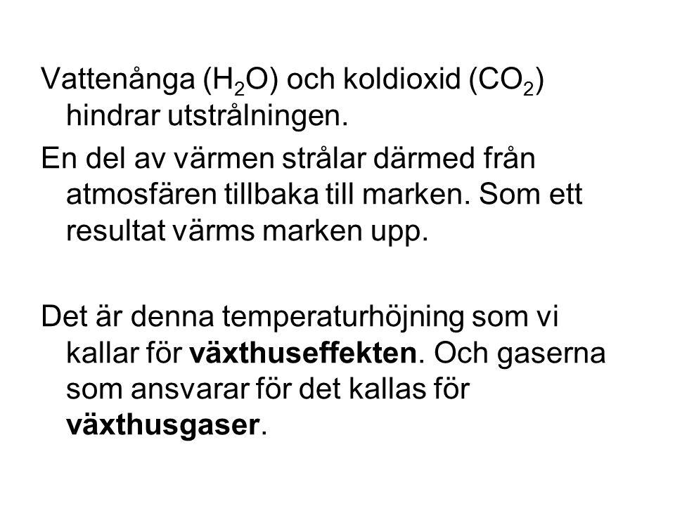 Vattenånga (H2O) och koldioxid (CO2) hindrar utstrålningen.