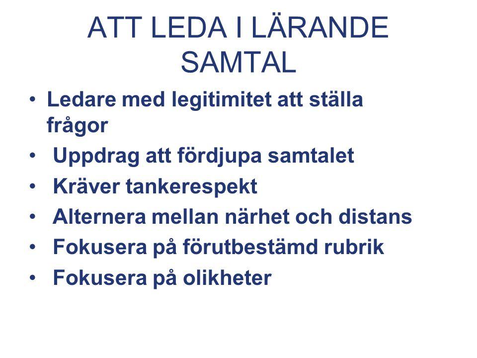 ATT LEDA I LÄRANDE SAMTAL