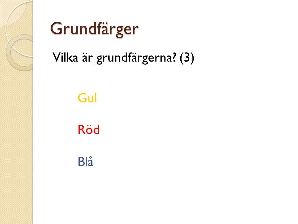Grundfärger Vilka är grundfärgerna (3) Gul Röd Blå