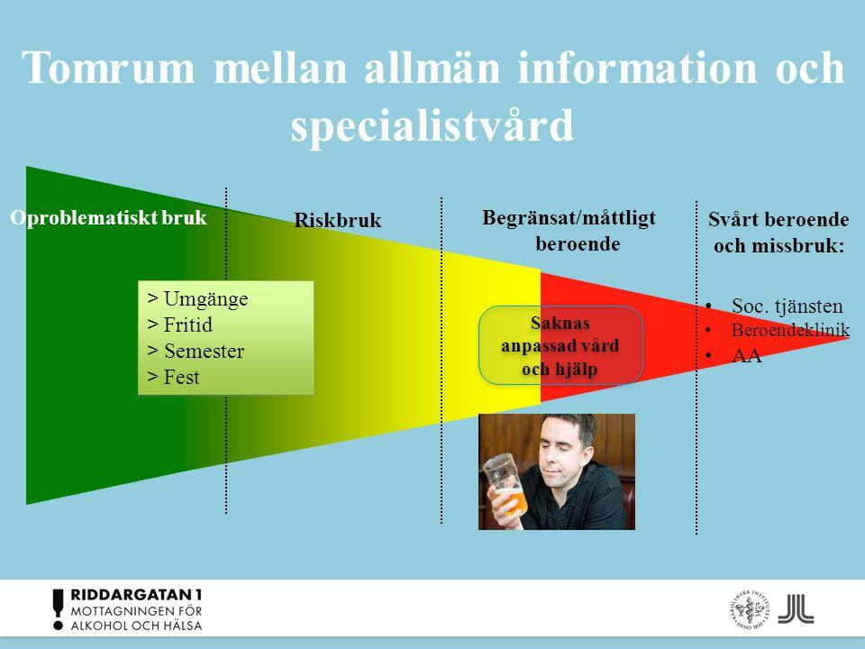 Tomrum mellan allmän information och specialistvård