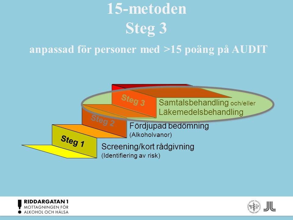 15-metoden Steg 3 anpassad för personer med >15 poäng på AUDIT