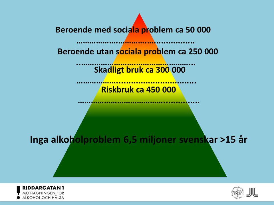 Inga alkoholproblem 6,5 miljoner svenskar >15 år