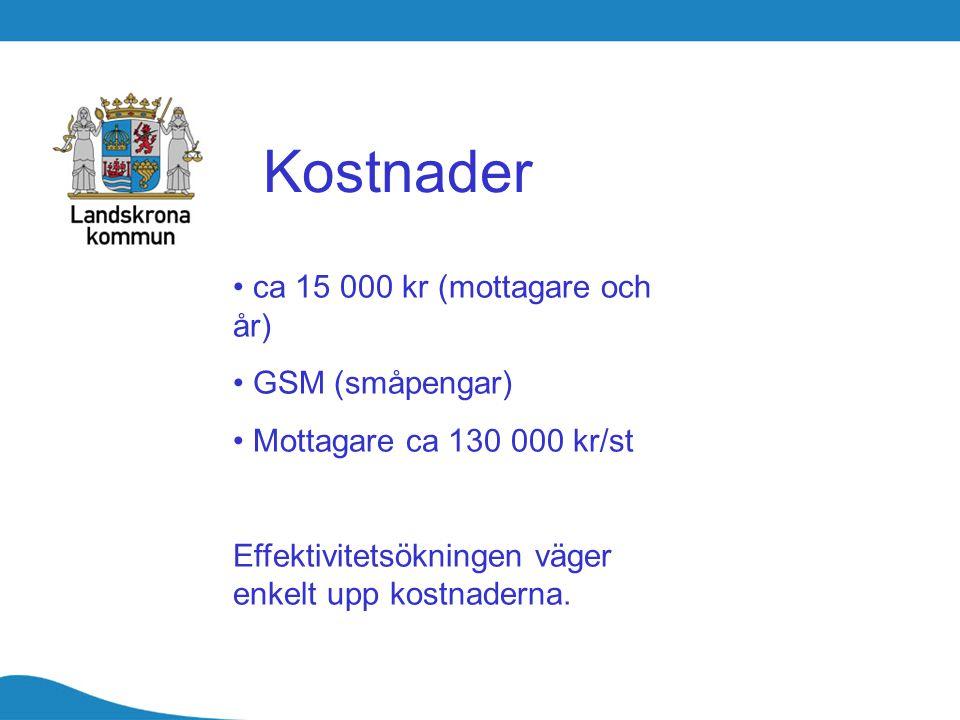 Kostnader ca 15 000 kr (mottagare och år) GSM (småpengar)