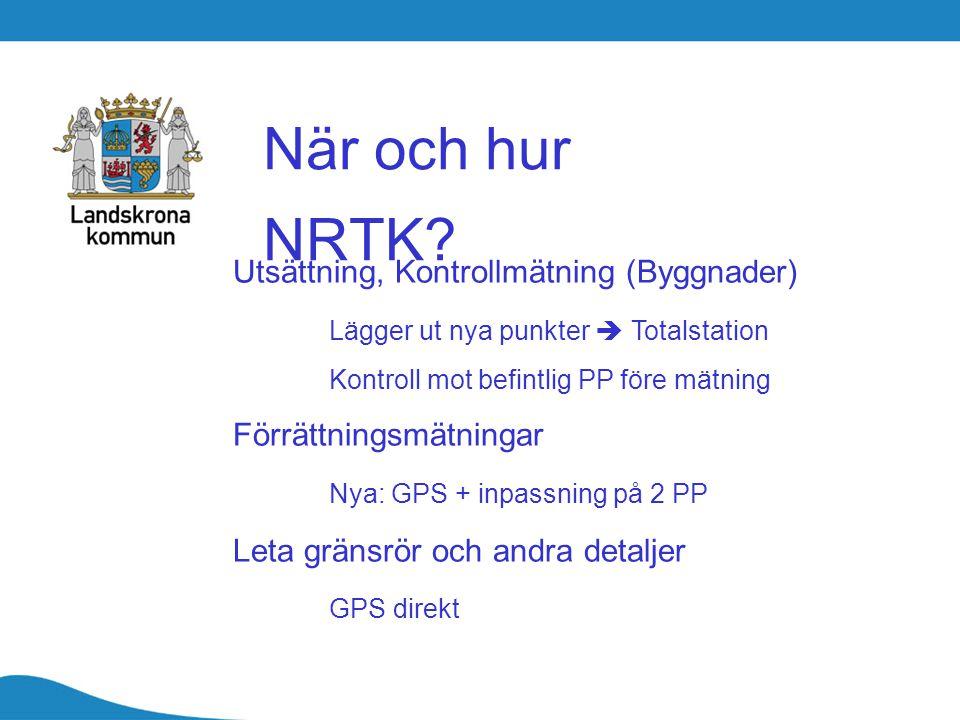 När och hur NRTK Utsättning, Kontrollmätning (Byggnader)