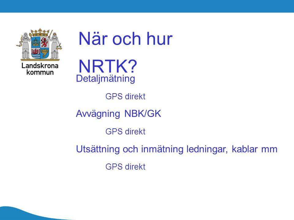 När och hur NRTK Detaljmätning GPS direkt Avvägning NBK/GK