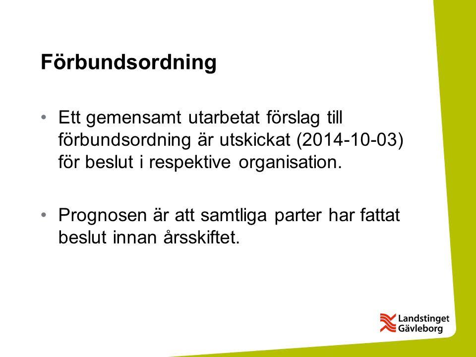 Förbundsordning Ett gemensamt utarbetat förslag till förbundsordning är utskickat (2014-10-03) för beslut i respektive organisation.