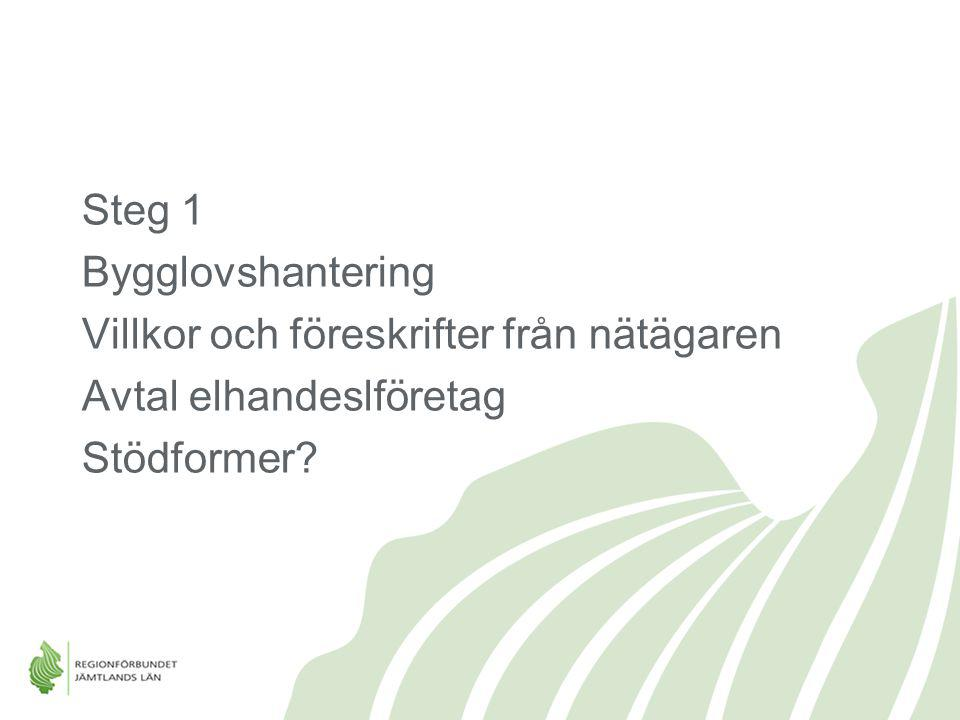 Steg 1 Bygglovshantering Villkor och föreskrifter från nätägaren Avtal elhandeslföretag Stödformer