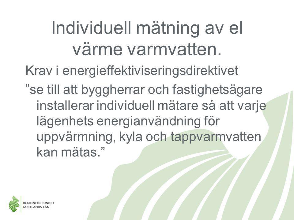 Individuell mätning av el värme varmvatten.