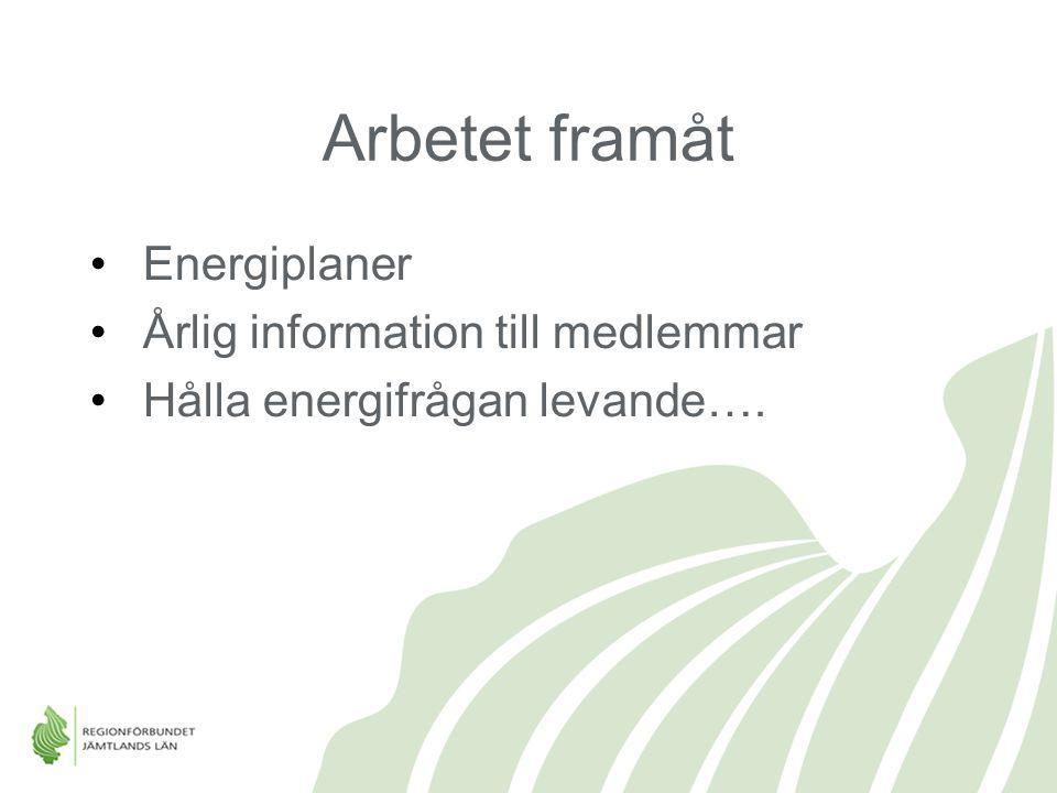 Arbetet framåt Energiplaner Årlig information till medlemmar