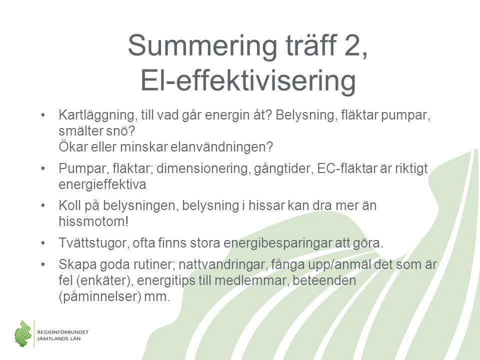 Summering träff 2, El-effektivisering