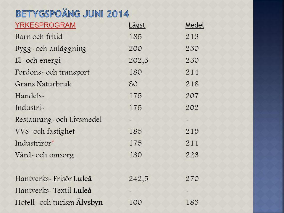 Betygspoäng juni 2014 Barn och fritid 185 213
