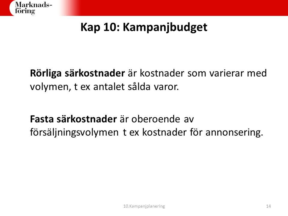 Kap 10: Kampanjbudget Rörliga särkostnader är kostnader som varierar med volymen, t ex antalet sålda varor.