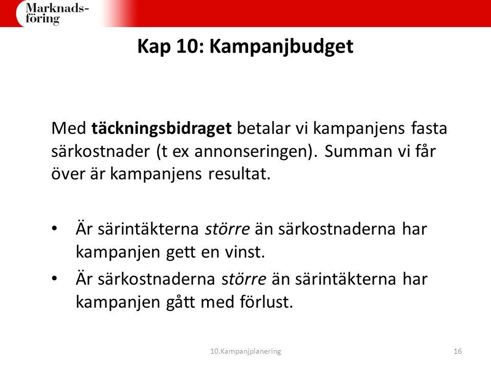 Kap 10: Kampanjbudget Med täckningsbidraget betalar vi kampanjens fasta särkostnader (t ex annonseringen). Summan vi får över är kampanjens resultat.