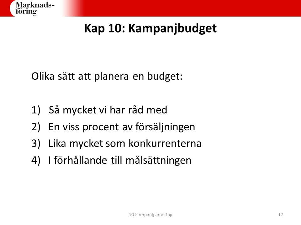 Kap 10: Kampanjbudget Olika sätt att planera en budget: