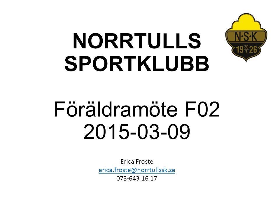 NORRTULLS SPORTKLUBB Föräldramöte F02 2015-03-09
