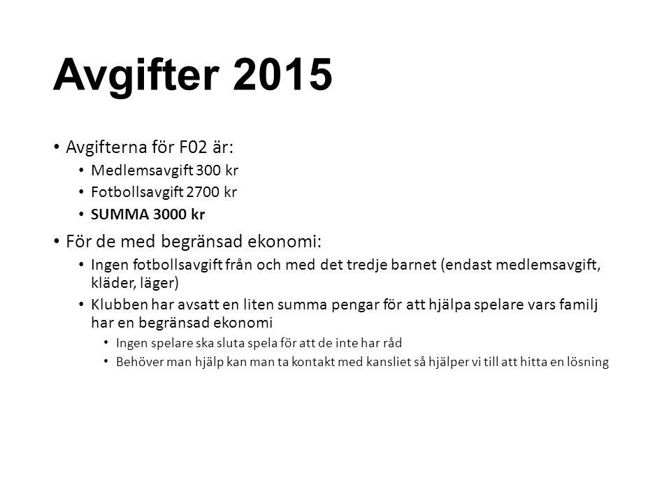 Avgifter 2015 Avgifterna för F02 är: För de med begränsad ekonomi: