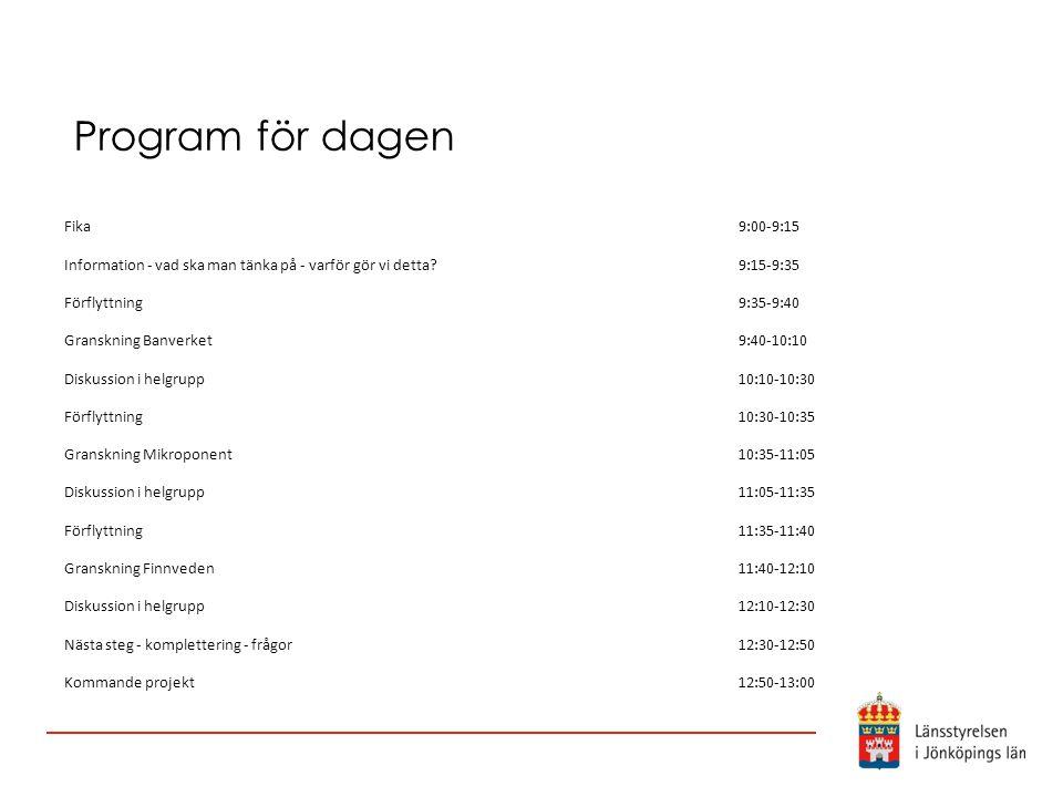 Program för dagen Fika. 9:00-9:15. Information - vad ska man tänka på - varför gör vi detta 9:15-9:35.