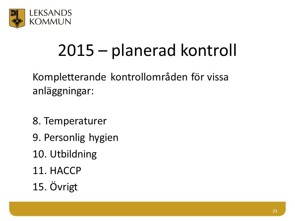 2015 – planerad kontroll