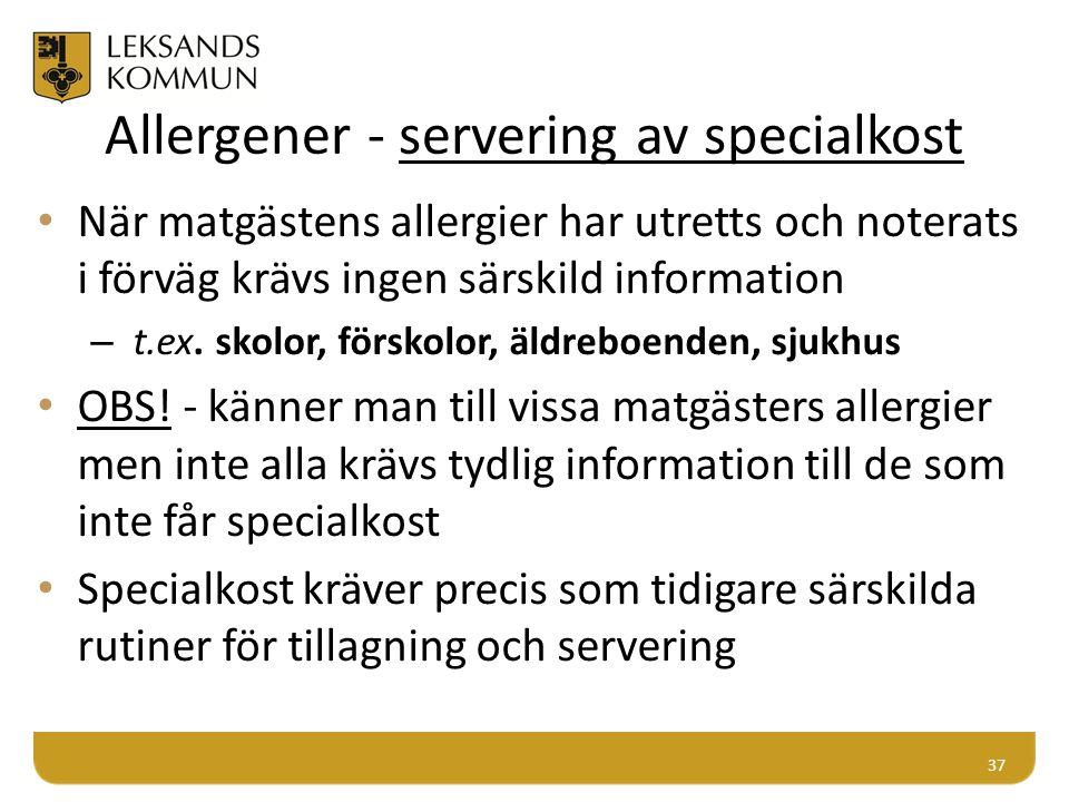 Allergener - servering av specialkost