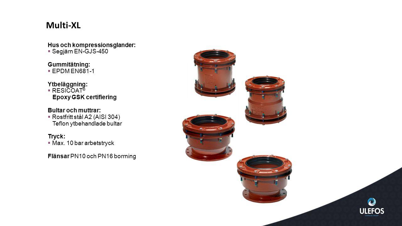 Multi-XL Hus och kompressionsglander: Segjärn EN-GJS-450 Gummitätning: