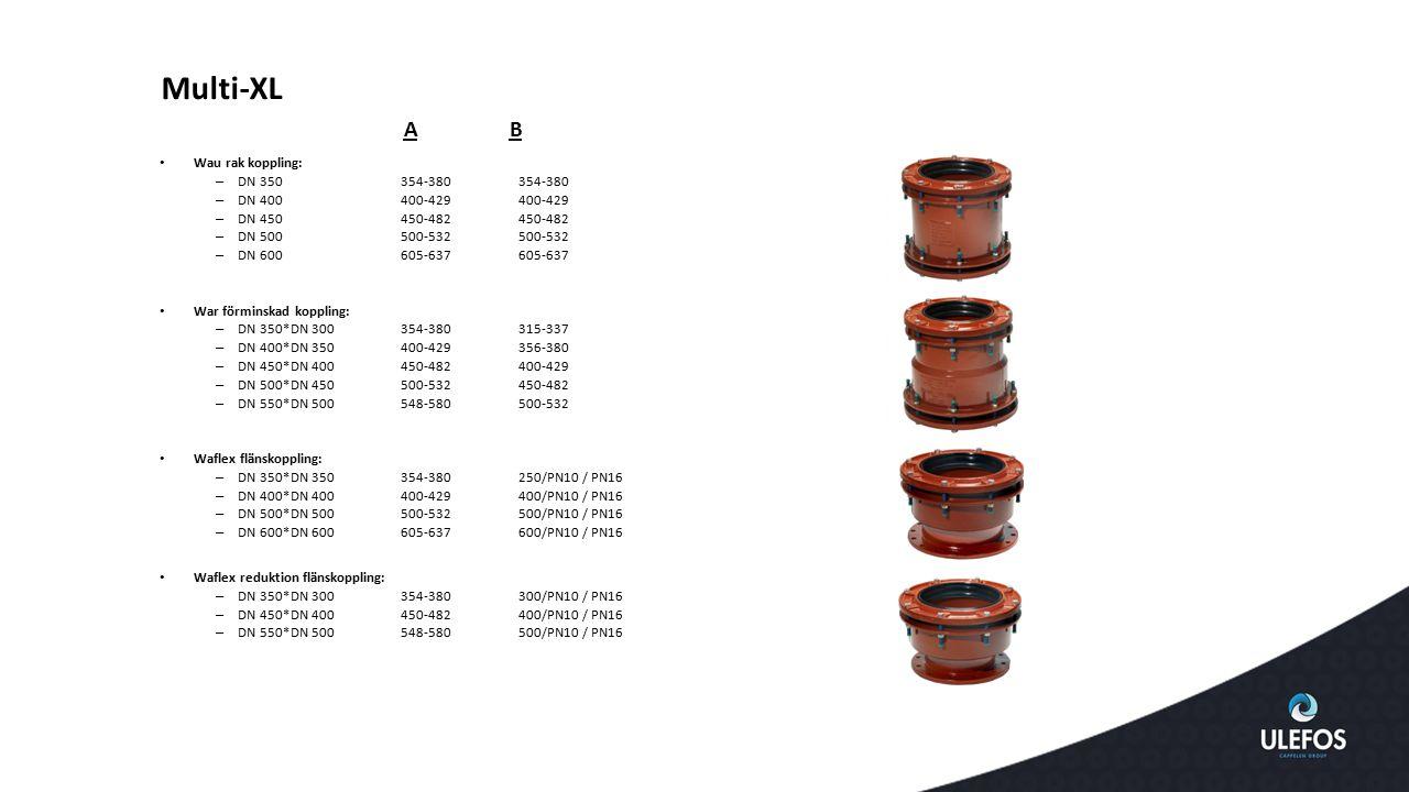 Multi-XL A B Wau rak koppling: DN 350 354-380 354-380