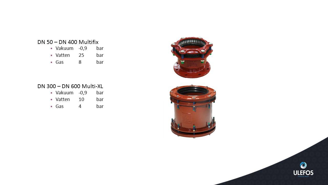 DN 50 – DN 400 Multifix DN 300 – DN 600 Multi-XL Vakuum -0,9 bar