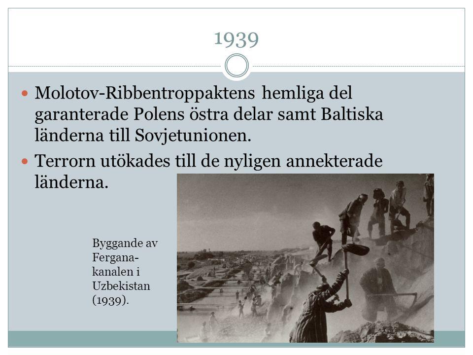 1939 Molotov-Ribbentroppaktens hemliga del garanterade Polens östra delar samt Baltiska länderna till Sovjetunionen.
