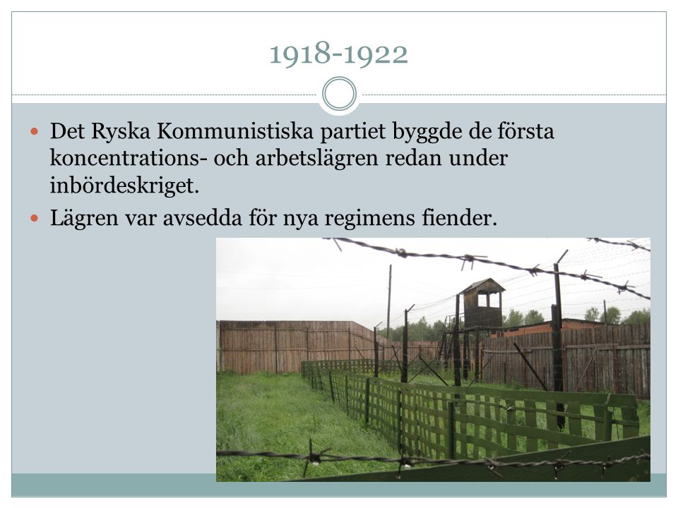 1918-1922 Det Ryska Kommunistiska partiet byggde de första koncentrations- och arbetslägren redan under inbördeskriget.