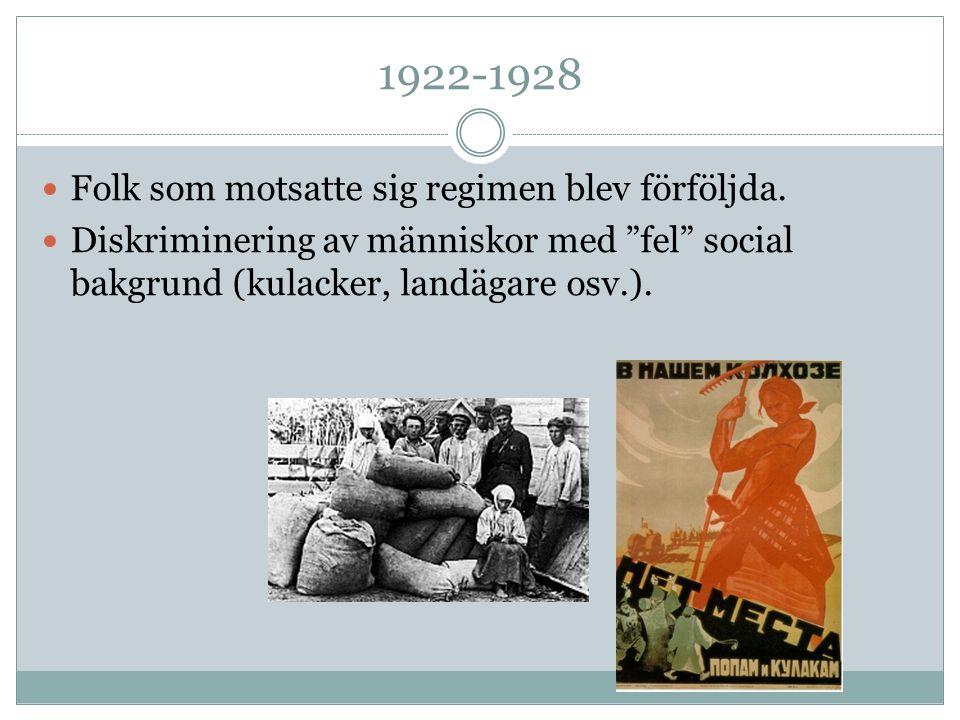 1922-1928 Folk som motsatte sig regimen blev förföljda.