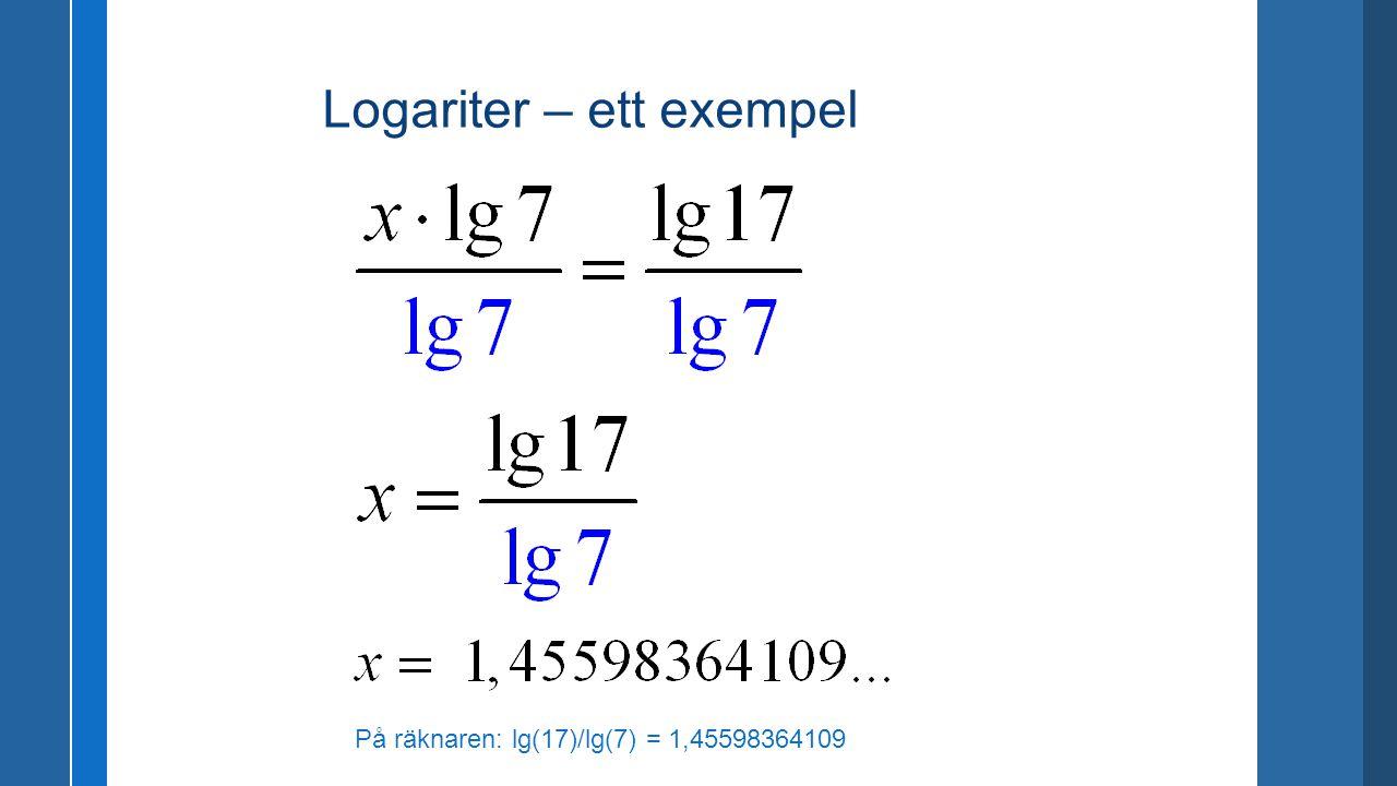 Logariter – ett exempel