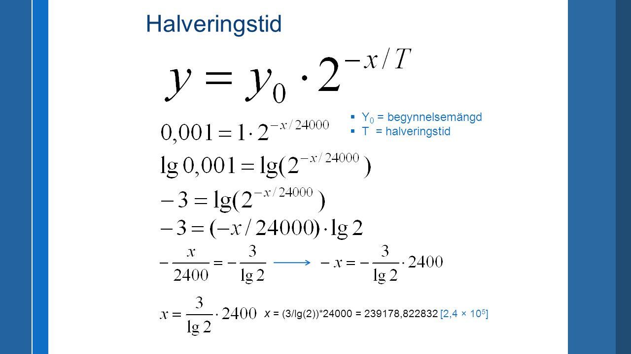Halveringstid Y0 = begynnelsemängd T = halveringstid