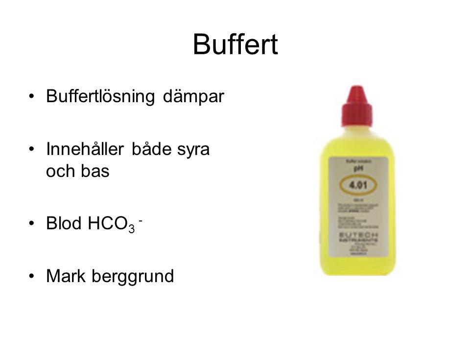 Buffert Buffertlösning dämpar Innehåller både syra och bas Blod HCO3 -