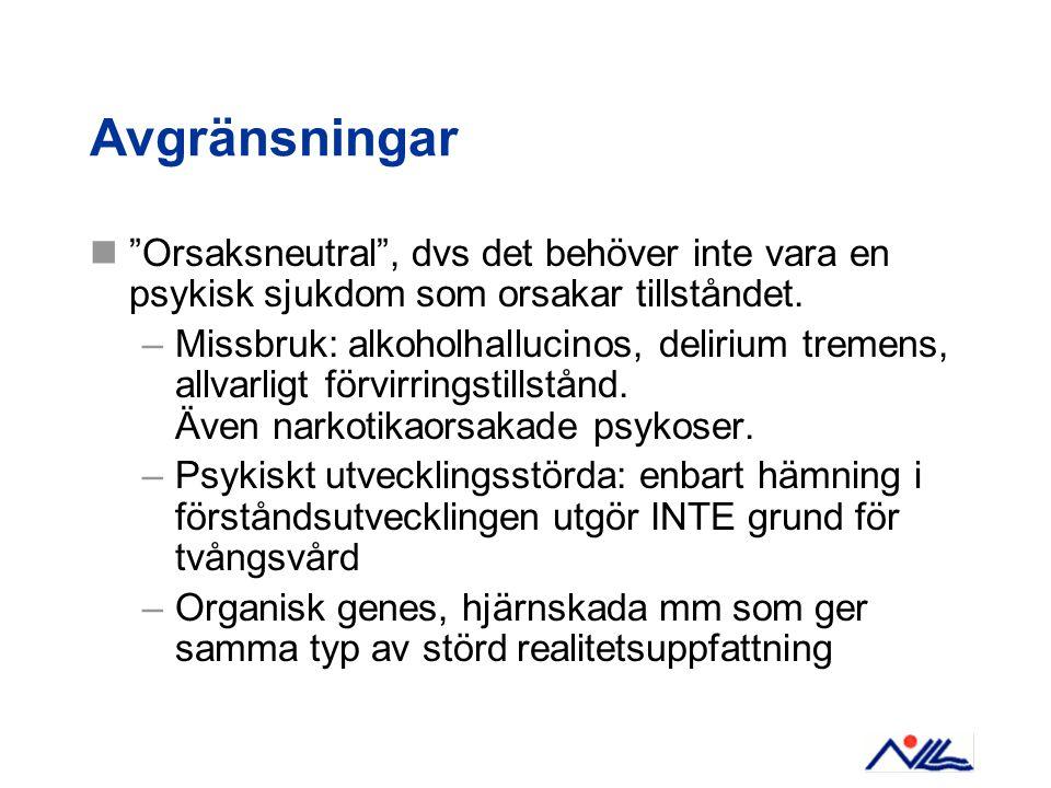 Avgränsningar Orsaksneutral , dvs det behöver inte vara en psykisk sjukdom som orsakar tillståndet.