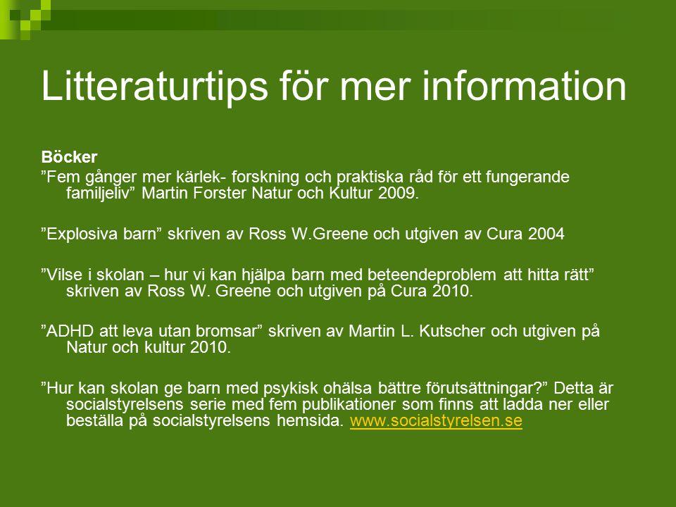 Litteraturtips för mer information