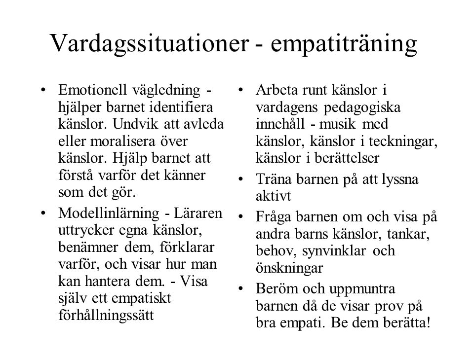 Vardagssituationer - empatiträning
