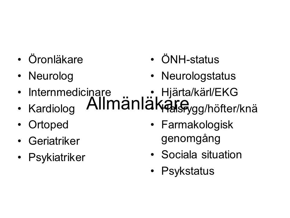 Allmänläkare Öronläkare Neurolog Internmedicinare Kardiolog Ortoped