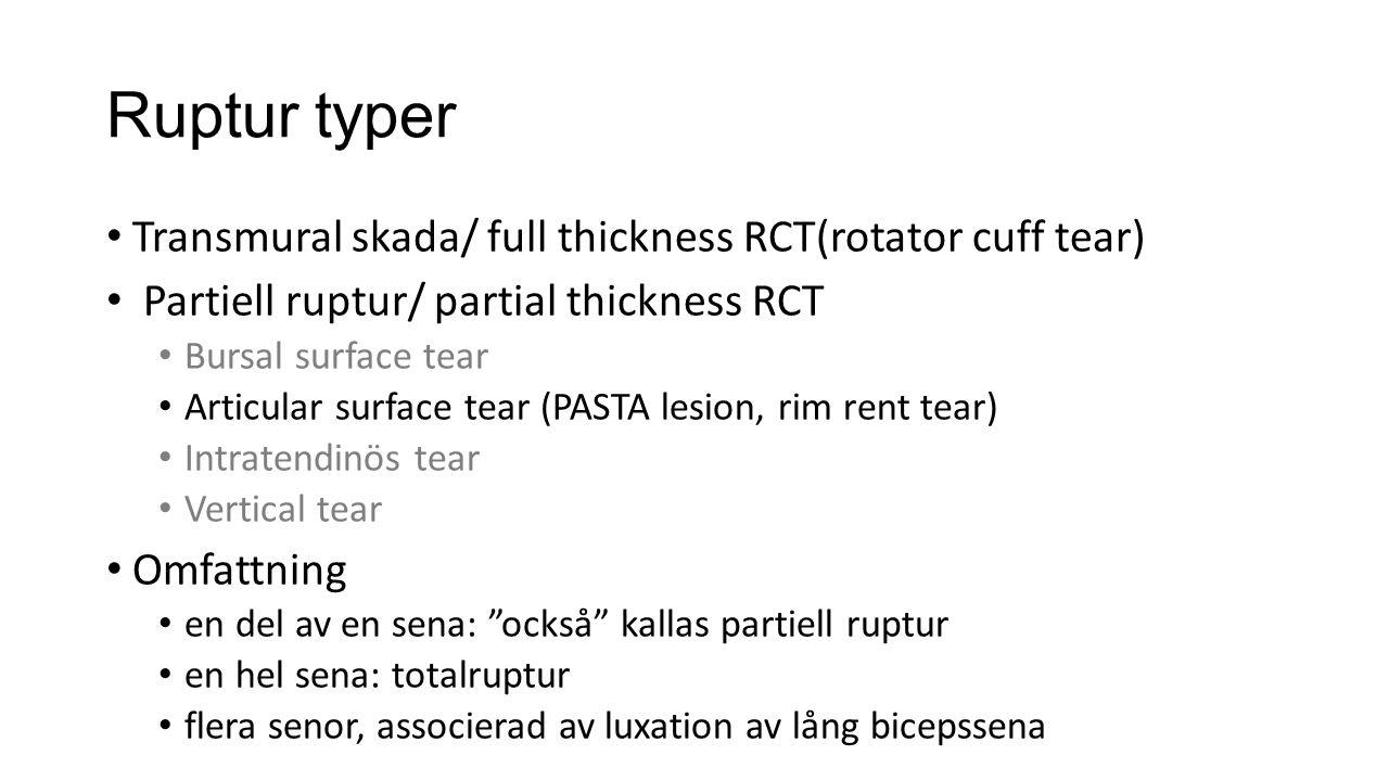 Ruptur typer Transmural skada/ full thickness RCT(rotator cuff tear)